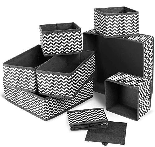 Queta 8 Cajas organizadoras de almacenamiento Cajones de tocador de tela Organizadores divisores de armario plegable para ropa Interior calcetines alzoncillos bragas sujetadores