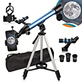 Telescopio 600 / 50mm 200X Imágenes positivas para principiantes con extensor 3X y 2 oculares (K9mm / K25mm) telescopio refractor con adaptador para teléfono, trípode y bolsa de transporte.