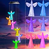 Rizzon Solar Wind Chimes for Outdoor Angels Wind Chimes Color Changing Mobile Wind Chime Hanging Decorative Gifts for mom, Garden Gifts, Gifts for mom Grandma Family Angels Gifts (Transparent)