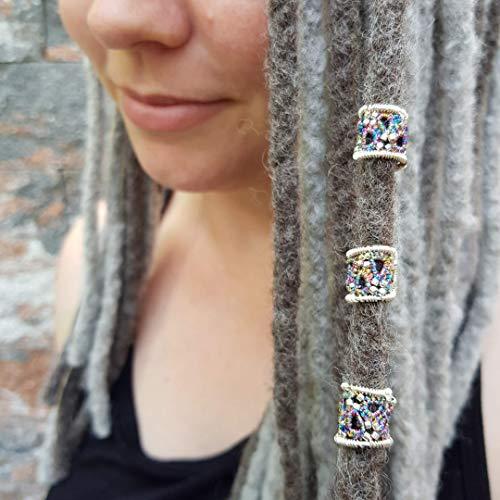 2 x Dreadperle, Dreadschmuck, Dreadbeads, Ø 10 mm Haarschmuck für Dreadlocks, Festival, Goa, Hippie, Boho