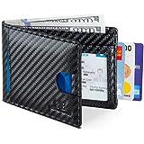 SERMAN BRANDS RFID Blocking Slim Bifold Genuine Leather Thin Minimalist Front Pocket Wallets for Men (Modern Black 2.0)