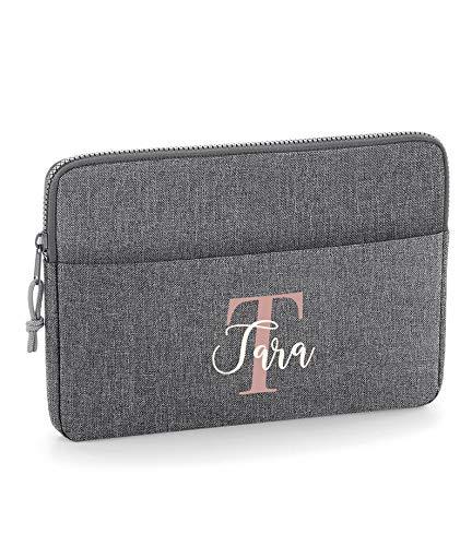Grey 15' Personalised Laptop Bag, University Gift, Laptop Case, Initial Tablet Bag, Monogram Document Bag, Laptop Case, Custom Computer Bag, 15' Size