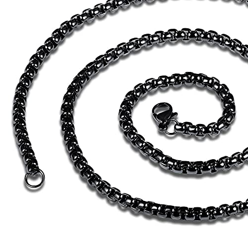 Collar punk de acero inoxidable para hombre, regalo de joyería, 55 CM-Negro