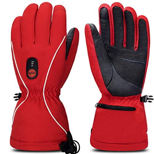 Smilodon 7.4V Heated Gloves for Men Women, Battery electric heating (Red, L)