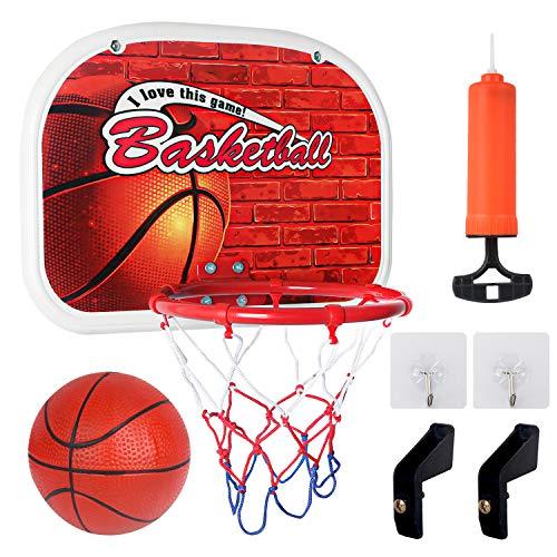 Sanlebi Basketballkorb fürs Zimmer Mini Basketball Ballspiele für Kinder mit Bälle Pump Basketballkorb aus Metall Indoor Outdoor Wurfspiele für Junge Mädchen