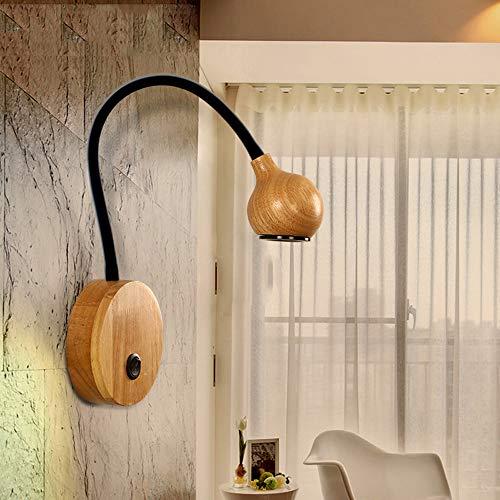 HHKQ LED 5W Aplique de Pared de Madera con Interruptor, Lámpara de Lectura Pared Cuello de Cisne Flexible Vintage Lámpara de Pared Interior para Dormitorio,Negro,White Light