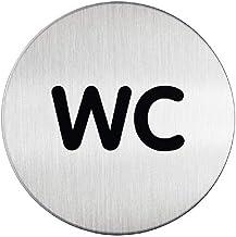 Durable zelfklevend pictogram wc (83 mm, krasbestendig, roestvrijstalen deurplaat), 5 stuks