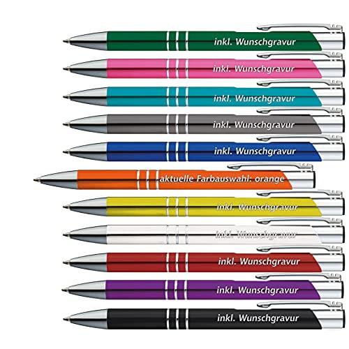 50 x Metallkugelschreiber mit 3 Zierringen inkl. Wunsch-Gravur Farbe | ORANGE | wählen Sie aus 20 Schriftarten und 11 verschiedenen Farben Ihren Wunsch-Kugelschreiber