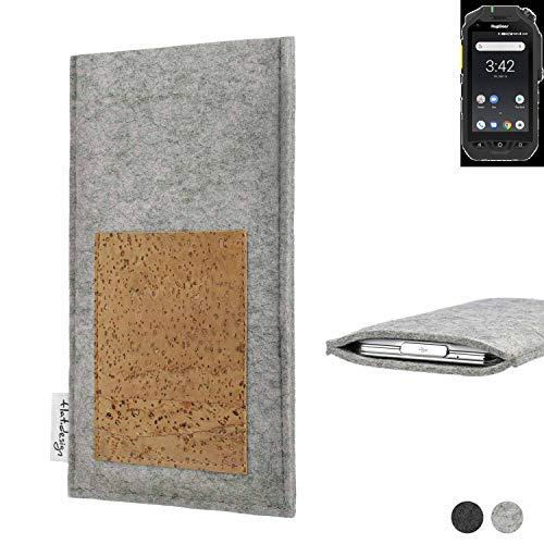 flat.design Handy Hülle Evora für Ruggear RG725 Made in Germany Handytasche Kartenfach Kork Filz Tasche Case