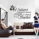 jiushivr Spanish Vinyl Wall Stickers Butterfly Letters Quote Wall Decals Artist Home Decoration Wallpaper House Decoration D 77x116cm