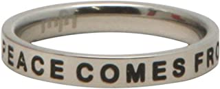 Inspirational Inscribed Ring, Peace Comes from Within