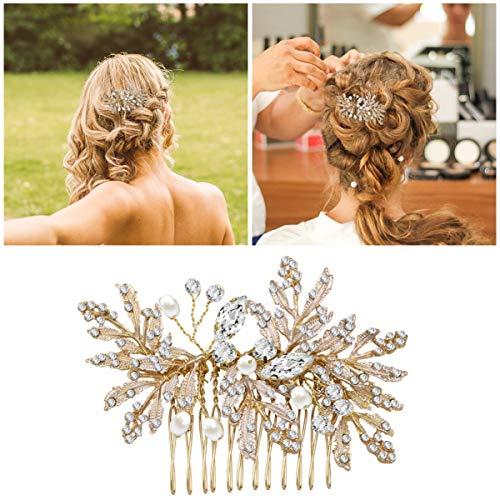 Haarkamm für Hochzeiten, Frcolor 2 Stück Strass Blume Kopfschmuck Clips Vintage-Haarschmuck für Bräute und Brautjungfern