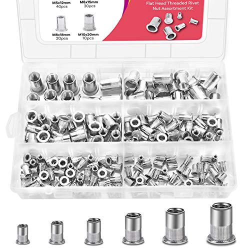 M3 M4 M5 M6 M8 M10 Keadic 205Pcs 304 Stainless Steel Metric Rivet Nut Flat Head Threaded Insert Nutsert Assortment Kit
