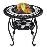 vidaXL Tavolo con Braciere a Mosaico Robusto a 4 Gambe con Griglia Stufa per Esterni Barbecue Nero e Bianco 68 cm in Ceramica Telaio in Acciaio