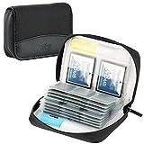 KIWIFOTOS 28 ranuras para tarjetas de memoria con cremallera para 24 tarjetas SD/SDHC/SDHC + 4 tarjetas CF (Compact Flash) / XQD, funda de transporte para tarjetas SD, color negro
