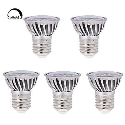 HERO-LED Dimmable PAR16 E26/E27 Short Neck 120V Medium Screw Base LED Halogen/Incandescent Replacement Bulb, Wide Beam Angle 120 Degree Floodlight, 4.8W, 50 Watt Equivalent, 5-Pack