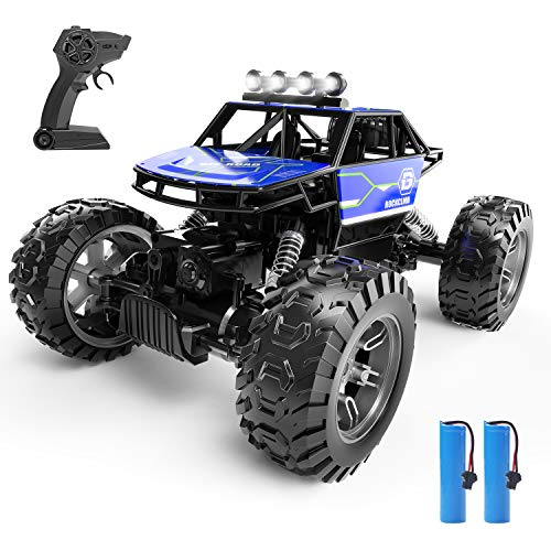 Holyton RC Cars, 4WD Remote Control Car, 1:16 Scale Off Road Monster Trucks 30+ MPH Speed 2.4GHz All Terrain, 2 Rechargeable Batteries Toy Crawlers Vehicles for Boys and Adults, 40+ Min Play, Blue