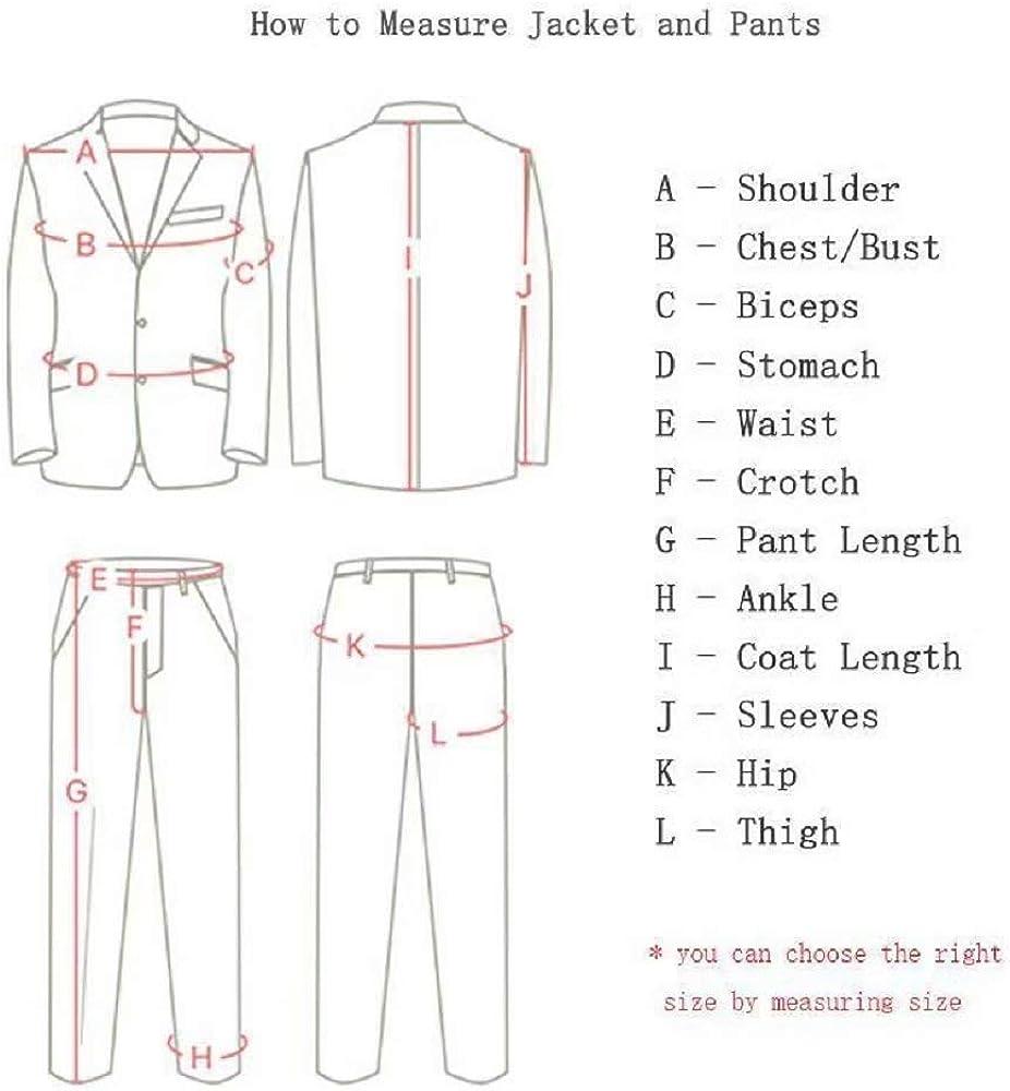 Men's One Button Long Sleeve Tuxedo Coat Blazer Jacket Groom Blazer 2 Piece Suit Pants