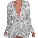 Letter Womens Sequins Sparkle Short Sleeve Cocktail Party Top T-shirt Blouse (L)