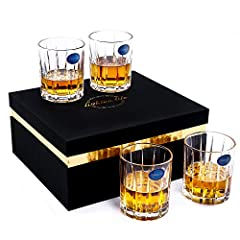 【Large Whiskey Glass Set 】Lighten Life whiskey glass can hold 10 oz/280ml of your favourite drinks. Bourbon glass is strength and is also easy to grip in your hand. Crystal whiskey glass set of 4 is not only a glassware but also a showpiece for your ...