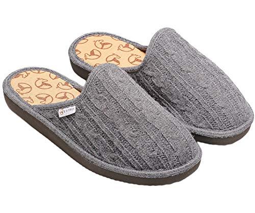 ESTRO Zapatillas De Casa Mujer Invierno Lana De Camello Pantuflas Casa Mujer ec1 (Gris, Numeric_37)