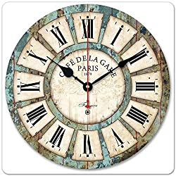 DAVITU US Warehouse 12inch Vintage Roman Numeral Design France Paris Rusted Metal Look French Country Tuscan Style Paris Wood Wall Clock-25 - (Color: Light Green)