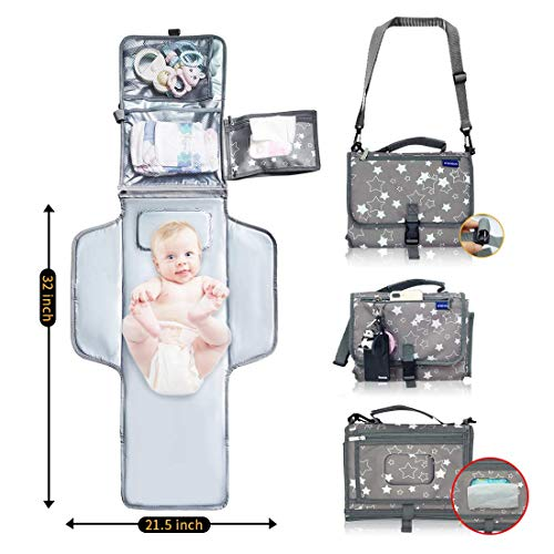 Portable Changing Pad,Baby Portable Diaper Changing Pad for Boys and Girls  Travel Changing Pad with Smart Wipes Pocket   Lightweight and Waterproof Travel Diaper Station Kit with Cushioned Pad
