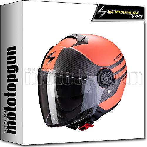 Scorpion - Casco de moto Jet Exo-City, moderno, mate, coral, negro, talla XS