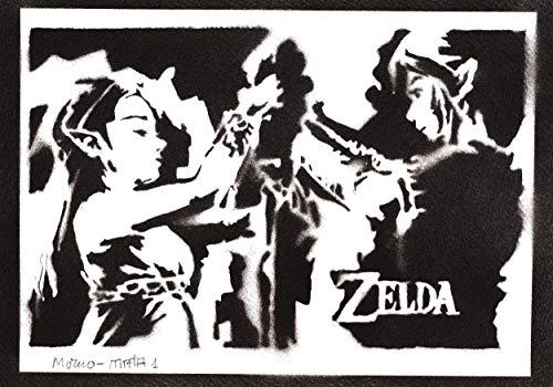 Póster Zelda y Link Grafiti Hecho a Mano - Handmade Street Art - Artwork