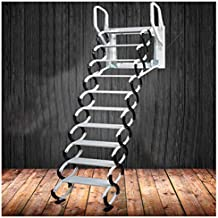 Heavy Duty Steel Metal Loft Wall Ladder Stairs Attic Household Pull Down Thick Folding Ladder Factory (Alloy 2.5-3M,Black White)