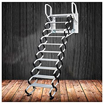 Heavy Duty Steel Metal Loft Wall Ladder Stairs Attic Household Pull Down Thick Folding Ladder Factory  Carbon Steel 2.5-3M,Black White