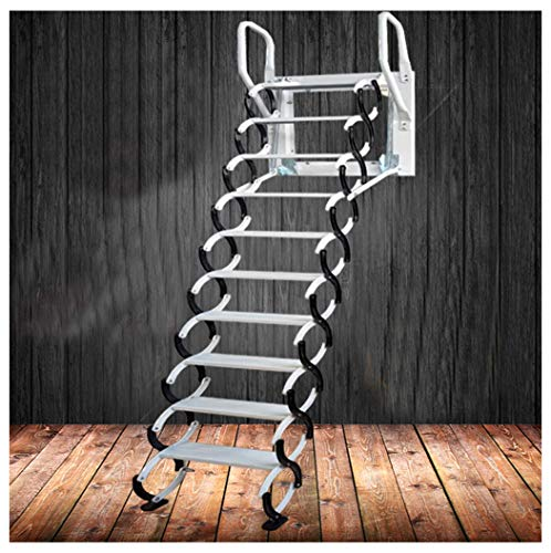 Heavy Duty Steel Metal Loft Wall Ladder Stairs Attic Household Pull Down Thick Folding Ladder Factory (Carbon Steel 2.5-3M,Black White)