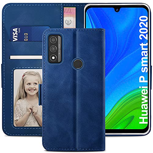 YATWIN Funda Huawei P Smart 2020, Cuero Premium Flip Folio Carcasa para Huawei P Smart 2020, Bloqueo RFID, Soporte Plegable, Ranura para Tarjeta, Cierre Magnético, Funda para P Smart 2020, Azul