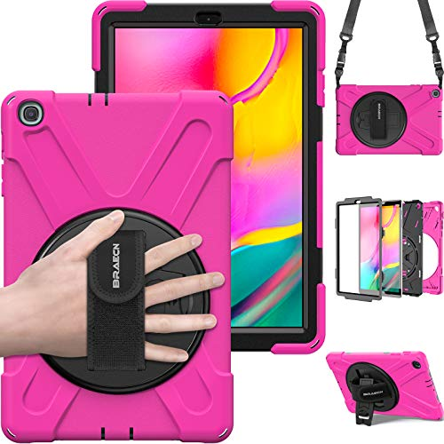 Samsung Galaxy Tab A 10.1 Case 2019, BRAECN [Heavy Duty] Rugged Shockproof Protective Case with Kickstand, Hand Strap, Shoulder Strap for Galaxy Tab A 10.1 Inch T510/T515 2019 Tablet (Rose)