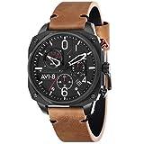 avi-8 men's hawker hunter 45mm brown leather band quartz watch av-4052-02
