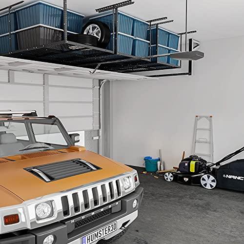 "FLEXIMOUNTS 3x8 Overhead Garage Storage Rack Adjustable Ceiling Storage Rack Heavy Duty 96"" Length x 36"" Width x 40"" Height (Black)"
