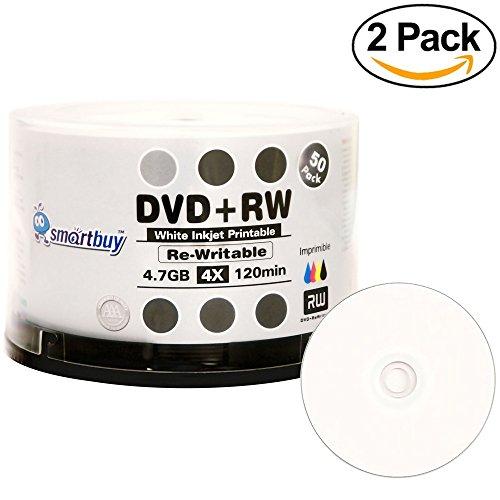 100 Pack Smartbuy Blank DVD+RW 4X 4.7GB 120Min White Inkjet Hub Printable Rewritable DVD Media Disc