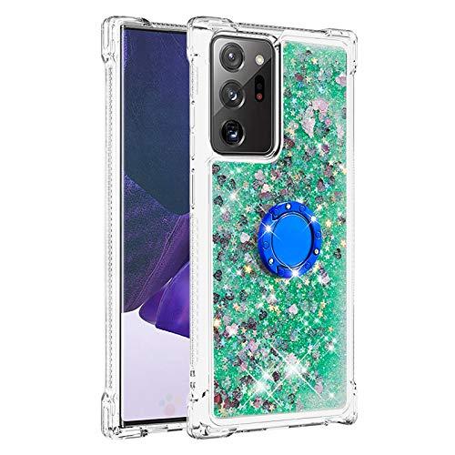Hülle für Samsung Galaxy Note 20 Ultra 4G-5G Diamant Ring Flüssig Treibsand Silikon TPU Bumper Hülle für Samsung Galaxy Note 20 Ultra 4G-5G(Grüne Liebe)