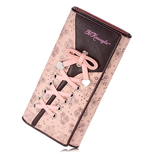 NICHOLY - Portafoglio da donna elegante in pelle con fiori, Colore: rosa. (Nero) - ..