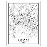 Mtoed Leinwand Druck, Italy Bologna Stadtplan Poster