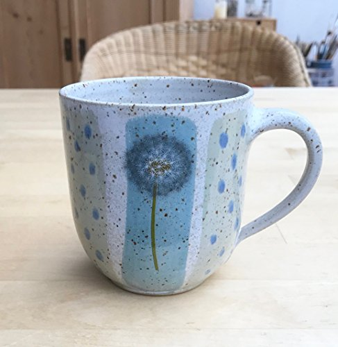 Kaffeebecher-480ml-türkis/grün mit Pusteblumen-getöpfert
