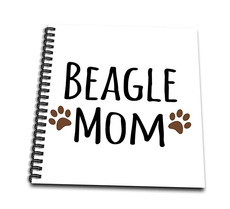 3dRose db_154065_2 Beagle Dog Mom Doggie by Breed Brown Muddy Paw Prints Doggy Lover Proud Mama Pet Owner Love Memory Book, 12 by 12-Inch