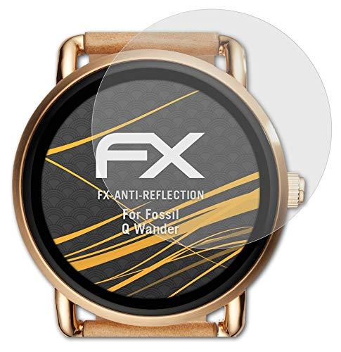 atFoliX Panzerfolie kompatibel mit Fossil Q Wander Schutzfolie, entspiegelnde & stoßdämpfende FX Folie (3X)