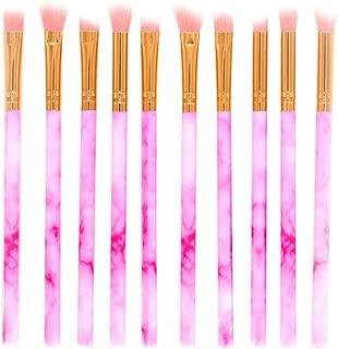 Crazy-store 10pcs Marble Pattern Fan-shape Eyeshadow Eye Makeup Brushes Set Kit for Adult Making up Pink