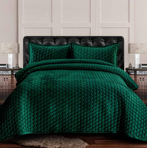 Tribeca Living LUGANOQUIQUEG Velvet Oversized Quilt Set, Queen, Emerald Green