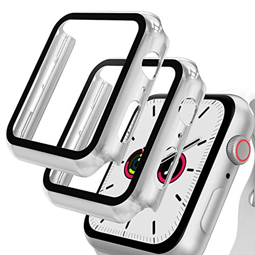 GeeRic 2PCS Pellicola Vetro Temperato Compatibile per Apple Watch 42mm Serie 3/2/1 HD Cover Resistente Urti Pellicola Copertura Completa Custodia Compatibile per Apple Watch 42mm Serie 3/2/1 Argento