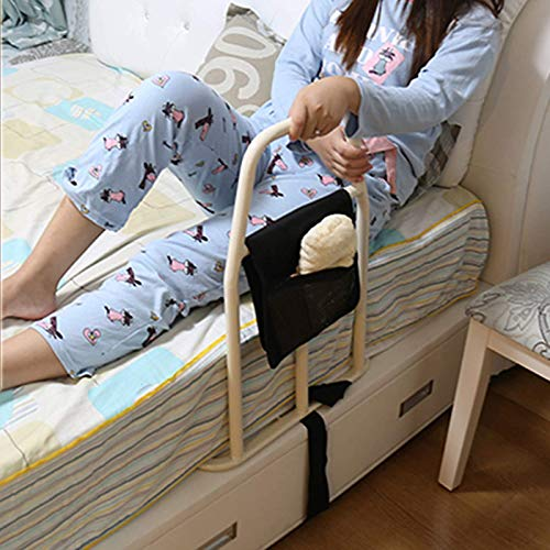 QFF Bed Handle/Bed Rail for Seniors/Bed Assist Bar with Storage Pocket/Bedside Handrails Assistance for Getting in Out of Bed