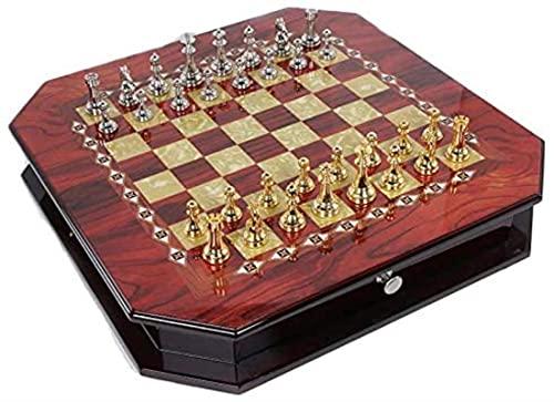 Juego de Juego de ajedrez Antiguo Pieces Vintage Tablero de ajedrez Alto de Alta Gama Juego de Placas de Rompecabezas de Alta Gama