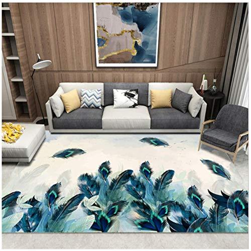 Mmxhn Feather 3D Printing Carpet Polyester Carpets For Living Room Non-Slip Anti-Wrinkle Bedroom Decor Rug Bedside Carpet-140X200Cm