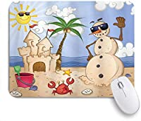 VAMIX マウスパッド 個性的 おしゃれ 柔軟 かわいい ゴム製裏面 ゲーミングマウスパッド PC ノートパソコン オフィス用 デスクマット 滑り止め 耐久性が良い おもしろいパターン (太陽漫画を楽しんでいる熱帯のビーチでキャッスルカニの貝殻を持つ子供砂雪だるま)